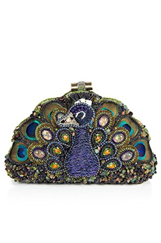 Show Off Peacock - Mary Frances Show Off Beaded Crystal Jeweled Peacock Bird Handbag Shoulder Bag