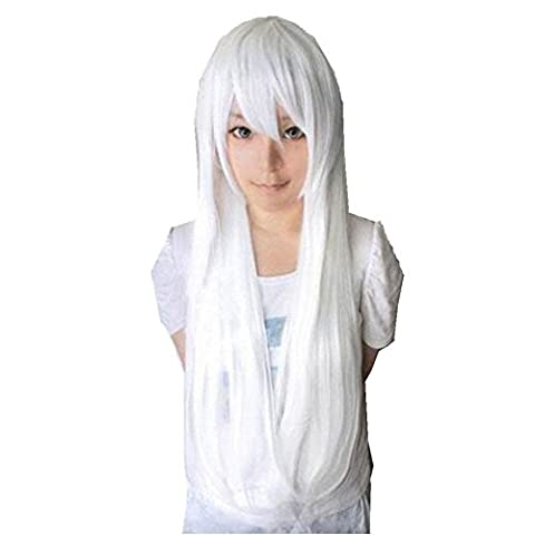 Wig,Baomabao 80CM Long Straight Cosplay Wig Multicolor Heat Resistant Full Wigs (White)