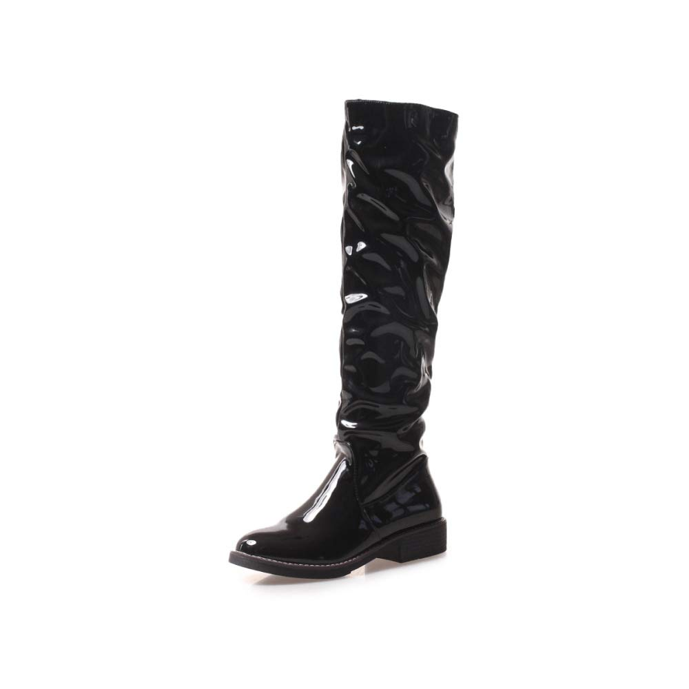 QINGMM damen Fashion Kniestiefel 2018 Herbst Winter New Bequeme Outdoor Knight Stiefel Schwarz 2 34 EU