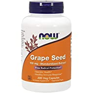 NOW Supplements, Grape Seed 100 mg - Standardized Extract, Highly Concentrated Extract with a Minimum of 90% Polyphenols, with Vitamin C, 200 Veg Capsules