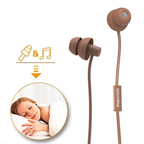 MAXROCK Sleeping Headphones, in-Ear Soundproof Earplug Soft Earbuds with Mic Noise Cancelling Sleep Earphones for Side Sleeper, Insomnia, Snoring, Air Travel, Bedtime Listening... (Coffee)