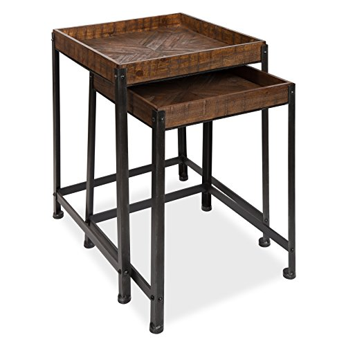 - Kate and Laurel - Marsh 2-Piece Rustic-Modern Side Accent End Tables with Pieced Quilted Star Pattern Designed Wooden Tray Top and Distressed Black Metal Base