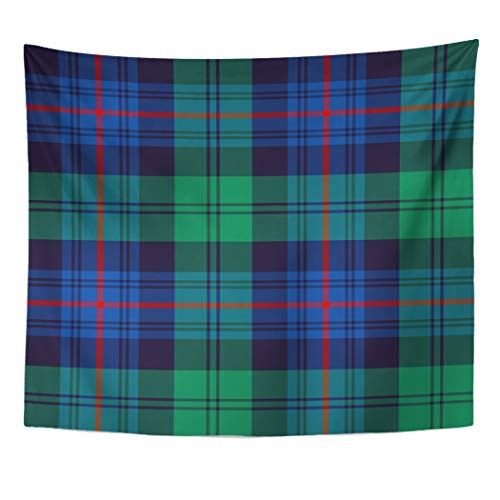 Semtomn Tapestry Artwork Wall Hanging Blue Plaid Armstrong Clan Tartan Green Royal Scottish Pattern 60x80 Inches Tapestries Mattress Tablecloth Curtain Home Decor Print]()