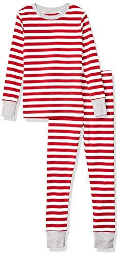 Cheap Kids Christmas Pajamas (Amazon Essentials Kid's Long-Sleeve Tight-Fit 2-Piece Pajama Set, Red Even Stripe,)