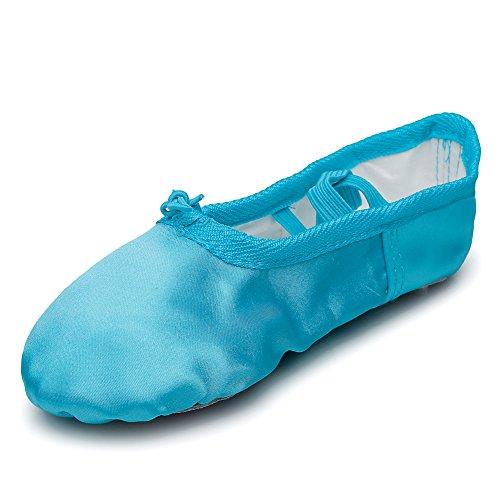 Kid Girl's Satin Practise Ballet Slipper Yoga Shoe,Blue,Little Kid,11 M US]()