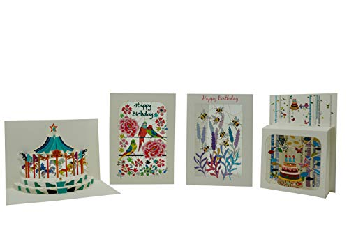(Shady Designs   Happy Birthday Bundle 2   A Variety of Birthday Cards Includes Birthday Cake, Bees, Parakeets, and Carousel Themed Cards Designed with a Happy Birthday Message   4 Card Bundle)