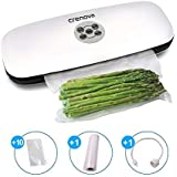 Crenova V60 Plus Vacuum Sealer, 3-in-1 Automatic Food Sealer Saver with Starter Kit of Cutter,10 Vacuum Bags/Rolls for Dry&Moist Food Preservation Saver