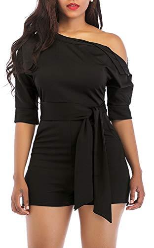 Satin Belt Cropped Pant - Black Women Sexy One Shoulder Solid Jumpsuit Elegant Short Romper Pant with Belt