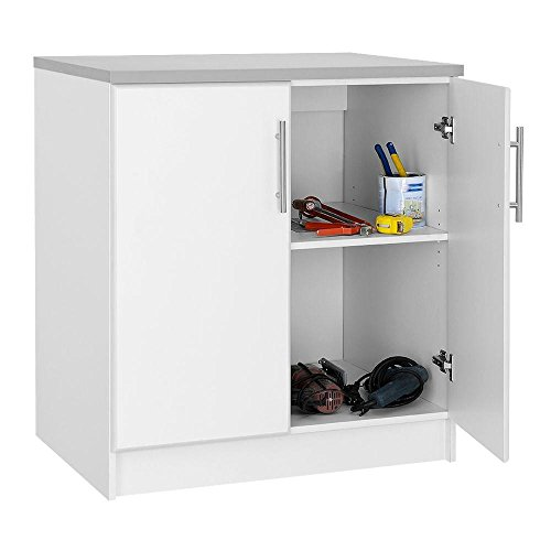 36 in. H 2-Door Base Cabinet in White - 2 Door Storage Base Cabinet