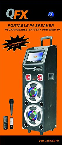 QFX PBX-410215 Battery Powered Bluetooth Pa Speaker with 9