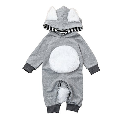 [Birdfly Toddler Baby Fox Costume Fleece Hooded Romper Jumpsuit Sleep 'N Play Creepers Infant Newborn Outfit (12M, Gray)] (Angel Pajama Infant & Toddler Costumes)