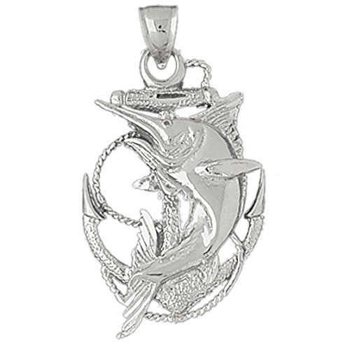 14k White Gold Anchor with Marlin Pendant (25 x 40 mm) by K&C