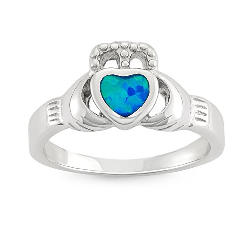 Sterling Silver Created Opal Claddagh Ring