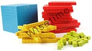 Base Ten Blocks (131 Pcs.) Plastic set in 4 different colors, Dience Block set- Starter Kit by Wisetime