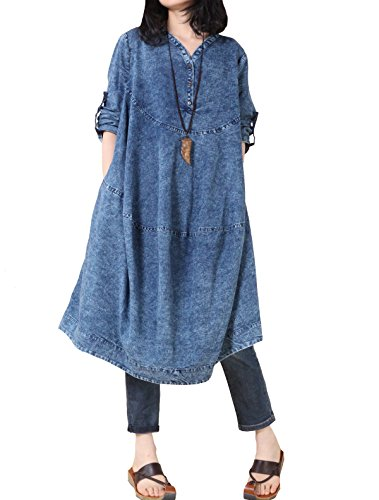 Mordenmiss Women's New Cotton V-Neckline Clothing A-Line Silhouette Loose Denim Dresses Blue, One (Dress One Jeans)