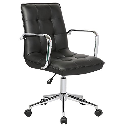 Porthos Home Leona Office Chair with Adjustable Height, 360° Swivel, Tufted PU Leather Upholstery and Roller Caster Wheels