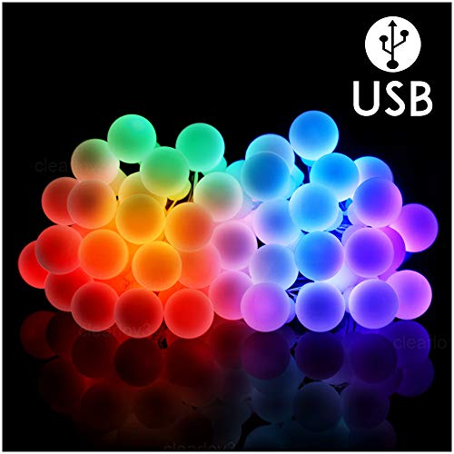 UPSTONE Led Globe String Lights - Colored USB Fairy Ball Lights 50 Mini Led 32.8Ft Waterproof for Indoor Bedroom Outdoor Garden Patio Holiday Decoration Wedding, Party, Halloween, Christmas, etc.