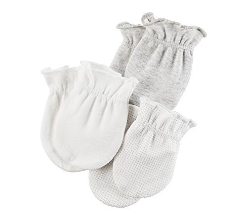 - Carter's Baby 3-Pack Mittens Set,0/3Months,White/Gray