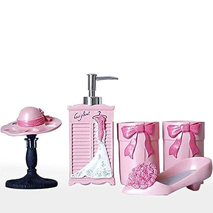 Brandream Cute Kids Bathroom Accessories Resin Bathroom Set,5Pcs,Pink  Princess
