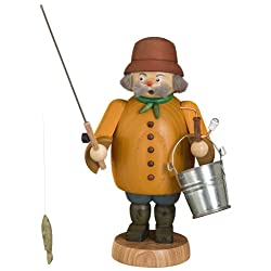German incense smoker fisherman, height 22 cm / 9 inch, original Erzgebirge by Seiffener Volkskunst SV 12662