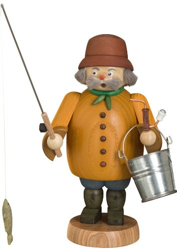 German incense smoker fisherman, height 22 cm / 9 inch, original Erzgebirge by Seiffener Volkskunst SV 12662