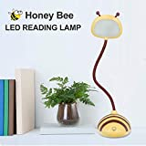 Kids Lamp, Tycipy Bee Design LED Desk Lamp Touch Control Dimming Light Flexible USB Rechargeable Desk Light Eye-Care Children Studying Lamp — Yellow