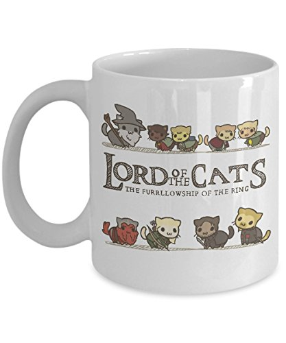 MORI-TM, Coffee Mug - Lord of the cats. The furrllowship of the ring -11oz and 15oz White Black Ceramic Cup - Best Funny Cat Gift for Men Women Dad Mom -