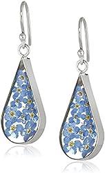 Sterling Silver Pressed Flower Teardrop Earrings