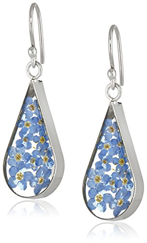 Sterling-Silver-Pressed-Flower-Teardrop-Earrings
