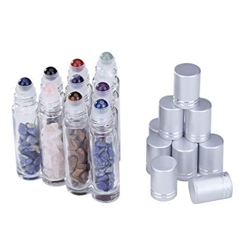 Lenias Essential Oil Roller Bottle EVA Carrying Travel Case and 10pcs Essential Oil Gemstone Roller Ball Bottles Frosted Glass Inside 10ml Healing Crystal Chips