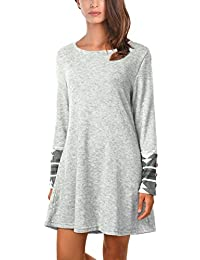 DJT Women's Boat Neck Printed Cuff Knit Sweater Long Tunic Top