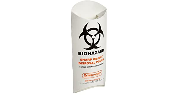 Pack of 200 Bel-Art H13234-0000 Paperboard Biohazard Sharp Object Safety Pouches; 5/¹//₂ x 13 in. 10 mil Thick 132340000
