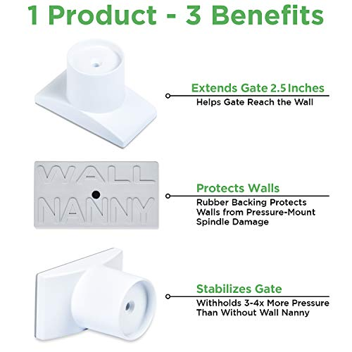 Wall Nanny Extender – 2.5 Inch Baby Gate Extension Kit Made in USA Extends Pressure Mounted Gates Protects Walls Stabilizes Gate – Child Pet Dog Gates – Works on Stairs – Extends 2.5 Total