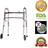 HEALTHLINE Junior Folding Walker with Wheels, Lightweight Deluxe 2 Button Folding Walker with 5-