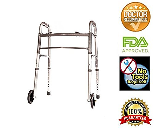 - HEALTHLINE Junior Folding Walker with Wheels, Lightweight Deluxe 2 Button Folding Walker with 5-inch Wheels, Adjustable Medical Pediatric Small Aluminum Front Wheeled Walker for Seniors & Children