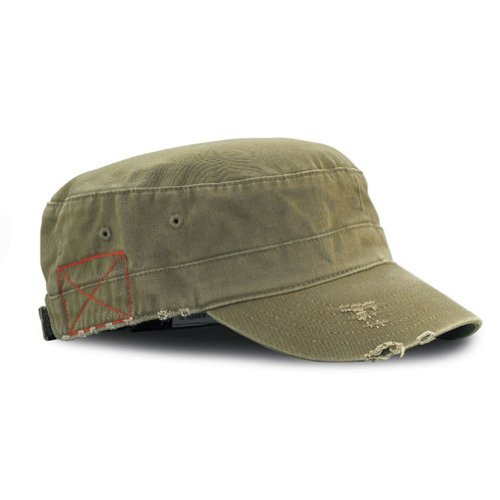 Military Cap Hat Olive (MG Distressed Washed Cotton Cadet Army Cap)