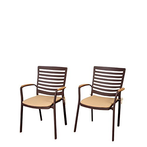Amazonia Clementine 4 Piece Teak/Cast Aluminum Armchair Set with Tan Cushions