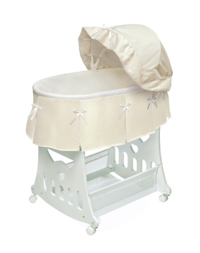 (Portable Rocking Baby Bassinet with Toybox Base, Short Skirt, and Pad)