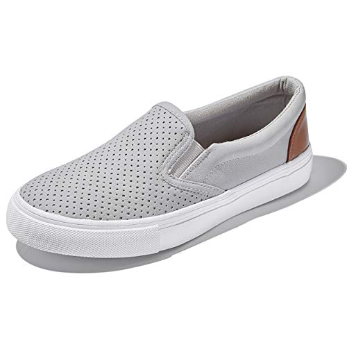 DailyShoes Unisex Flat Memory Foam Slip On Sneakers Sport Walking Driving Shoes Loafers Flats Tennis Casual Slip-On Loafers Sneakers Shoes Clay,P,U,5 ()