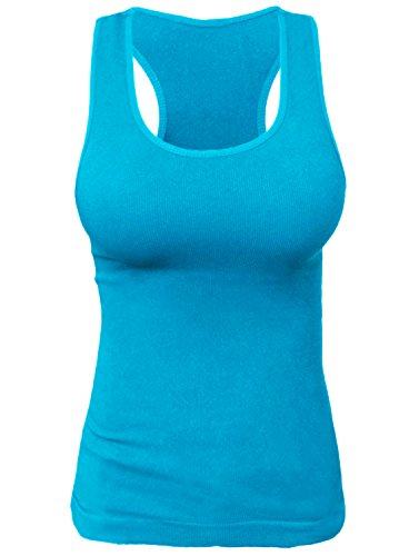 (KMystic Rib Racerback Tank Top Camisole One Size (Turquoise))