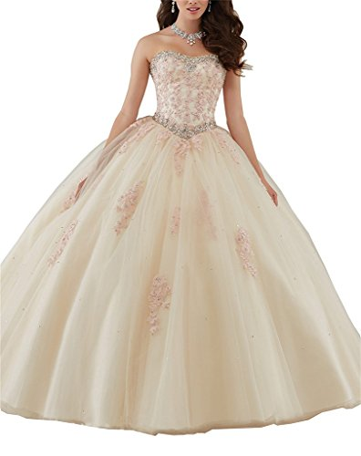 80f0b1b39e Yang Women Beaded Applique Tulle Sweet Girls 16 Quinceanera Dress Evening  Gownses