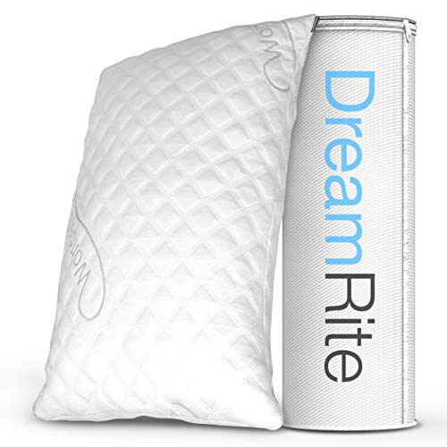 DreamRite Shredded Hypoallergenic Memory Foam Pillow WonderSleep Series Luxury Adjustable Loft Home Pillow Hotel Collection Grade Washable Removable Cooling Bamboo Derived Rayon Cover- Queen 1 Pack ()