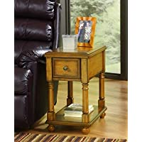 Contemporary Light Brown Chairside End Accent Table
