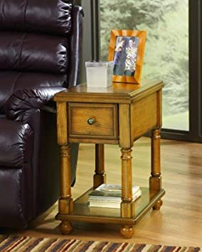 Ashley Furniture Contemporary Light Brown Chairside End Accent Table