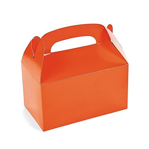 Fun Express Orange Paper Treat Boxes with Handle | 2-Pack (24 Count) | Great for Halloween-Themed Parties for -