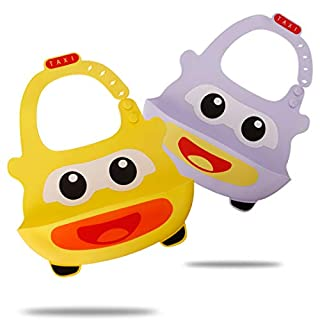 Set of 2 Cute Silicone Bibs for Babies & Toddlers- Easily Wipe Clean, Waterproof Bib Keeps Stains Off, Soft, Unisex – Yellow/Purple Car(6-72 Months)