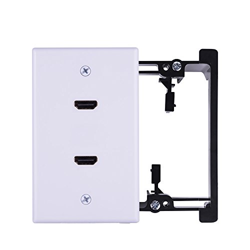 HDMI Wall Plate New Rear Connector Design with Mounting Bracket Easy to Install Built-in Flexible Hi-Speed HDMI 2.0 Version Supports 4K, 3D, ARC, Dual Port White (HDMI Wall Plate-2k)