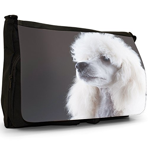 Poodle Black Dog White School Laptop Large Caniche Elegant Canvas Messenger Portrait Bag Shoulder Barbone Fluffy rBxrYq