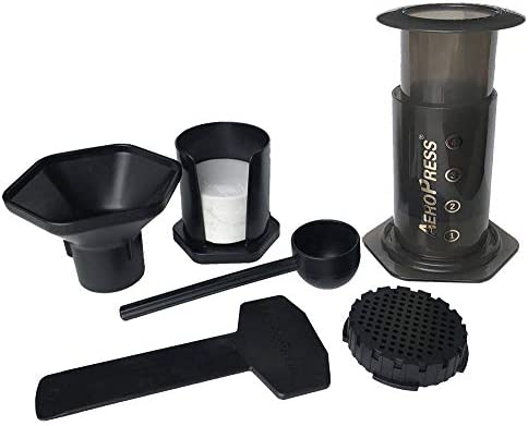 AeroPress Coffee and Espresso Maker – Makes 1-3 Cups of Delicious Coffee without Bitterness per Press