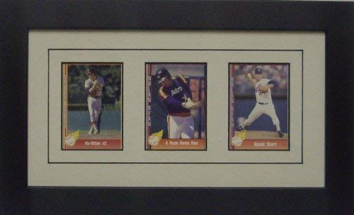 Trading Card Frame for 3 Standard Trading Cards with White (Black Trim) Matting and Black Frame